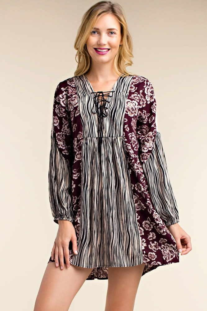 LACE UP CRINKLY PRINT DRESS - orangeshine.com