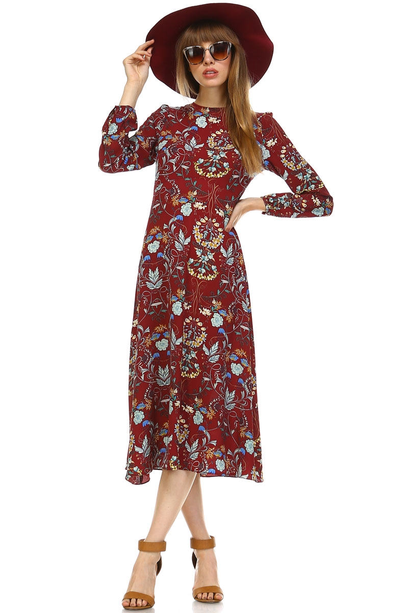 WESTERN FLORAL DRESS - orangeshine.com