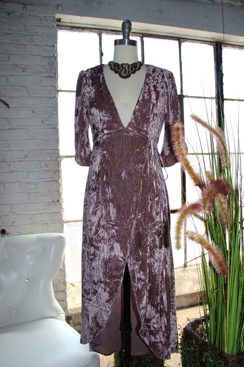 VELVET SURPLUS LONG DRESS WITH - orangeshine.com