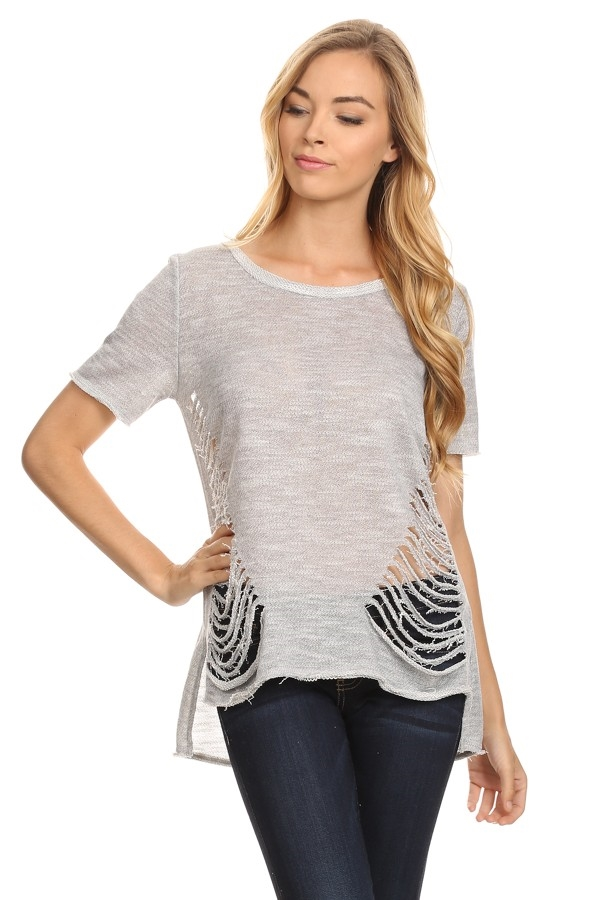 Frayed terry knit top - orangeshine.com