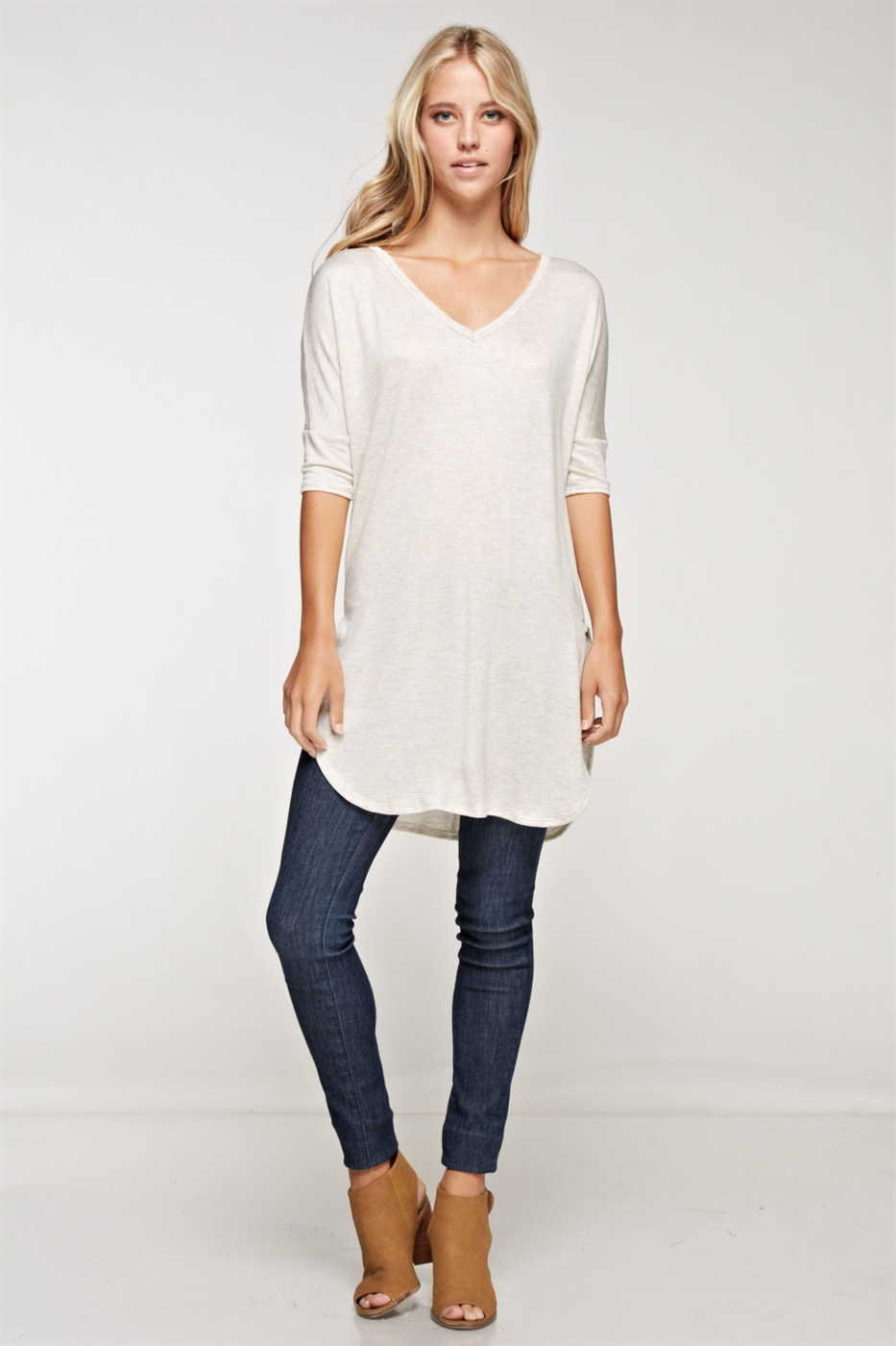 Front V-neck Side SIit Tunic T - orangeshine.com