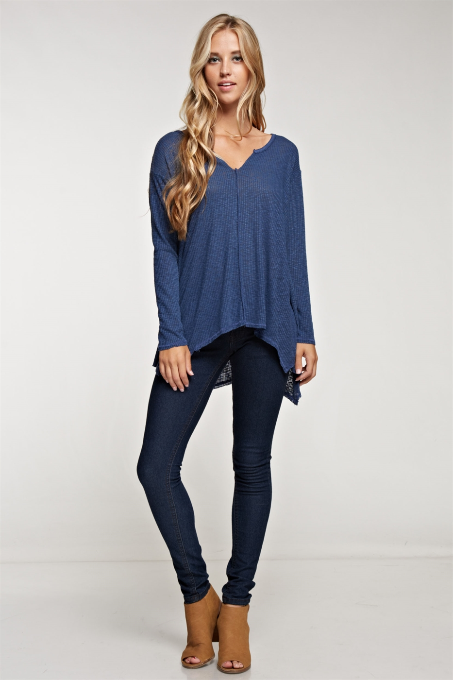 Rib Knit Long Sleeve V-NECK - orangeshine.com