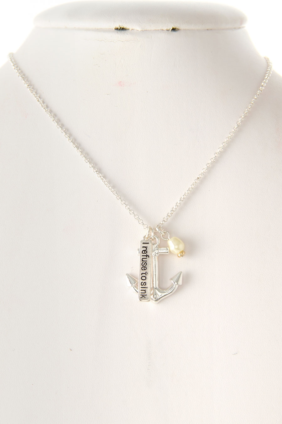 ANCHOR  PEARL CHARM NECKLACE - orangeshine.com