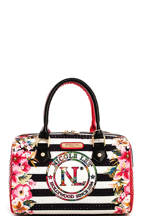Nicole Lee Stripe Print Bag - orangeshine.com