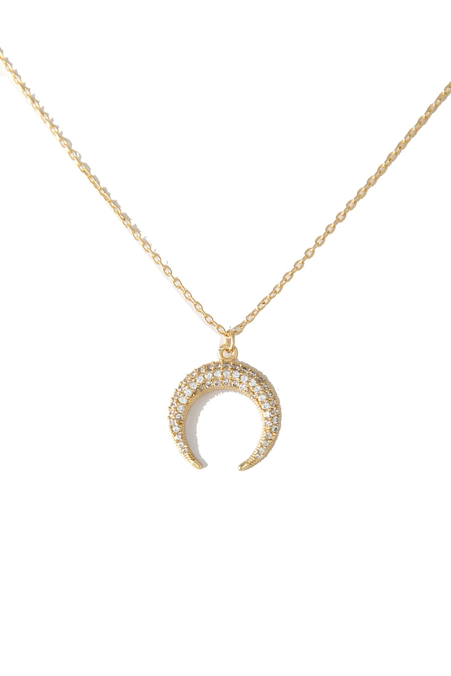 CZ HORN PAVE NECKLACE - orangeshine.com