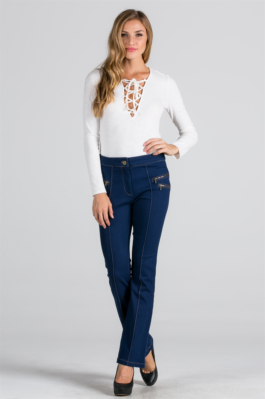 ZIPPERED FLARE DENIM PANT - orangeshine.com