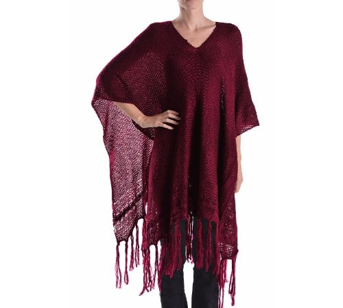 LONG PONCHO SHAWL WITH FRINGE - orangeshine.com