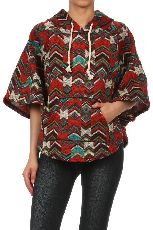 Fleece Poncho Tribal Chevron - orangeshine.com