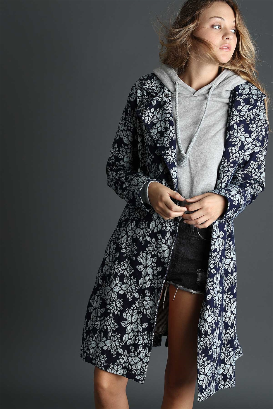 Flower printed denim coat - orangeshine.com