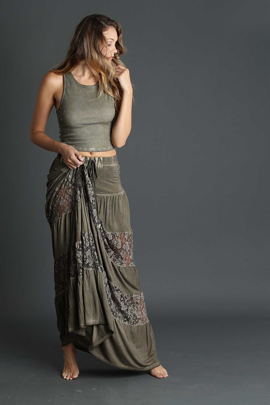 Lace paneled maxi skirt - orangeshine.com