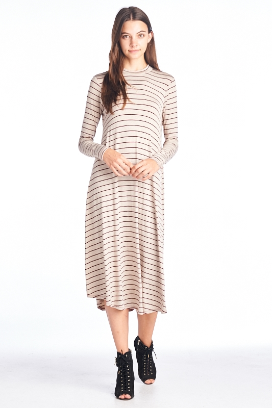 mock neck long flared dress - orangeshine.com