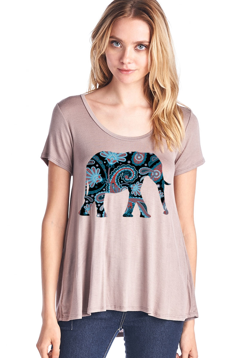 Elephant Short Sleeve Top - orangeshine.com