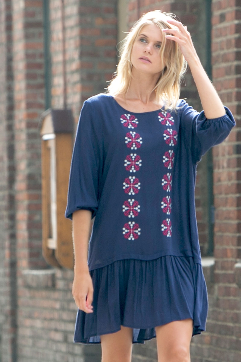EMBROIDERED FRONT WOVEN DRESS - orangeshine.com