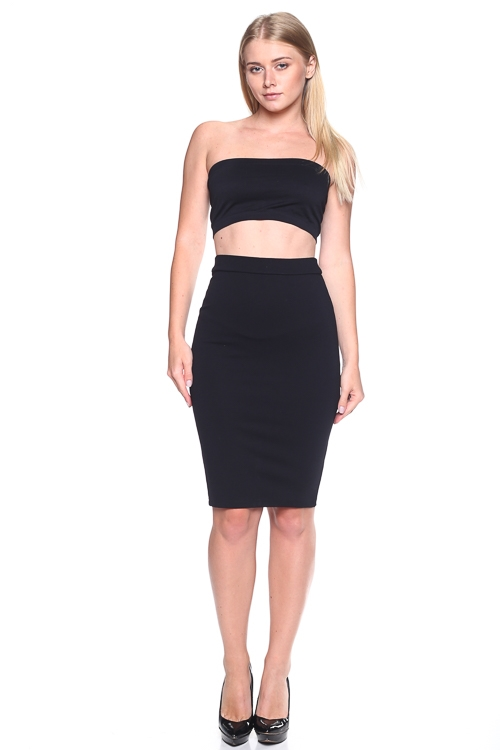 FITTED HIGH WAIST SOLID SKIRT - orangeshine.com