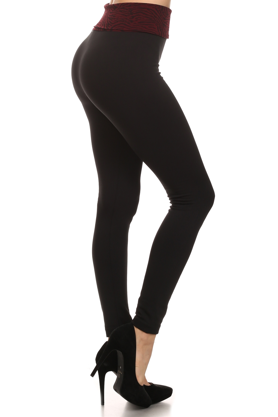 Solid knit legging with print - orangeshine.com