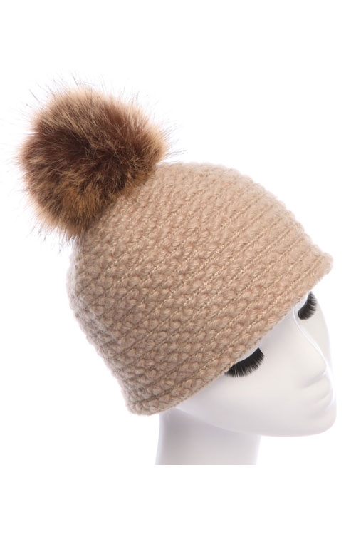 CROCHETED HAT WITH FUR POMPOM - orangeshine.com