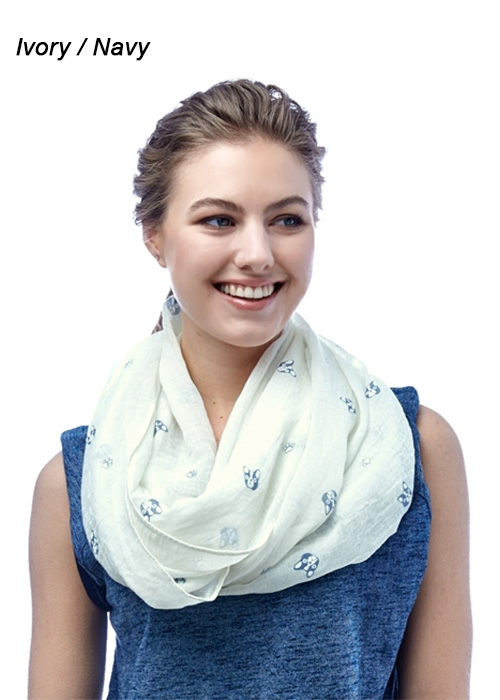 Dog Embossed Infinity Scarf - orangeshine.com