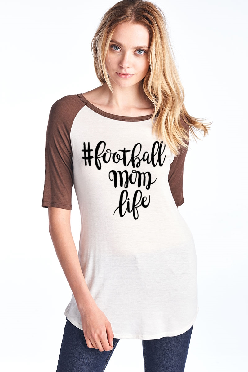 Football Mom Baseball Top - orangeshine.com