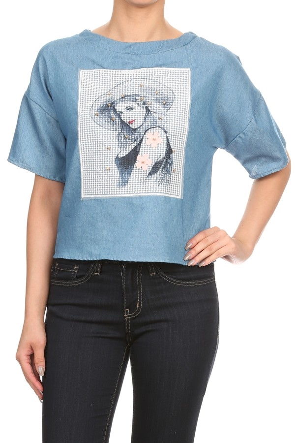 Denim Blue 1/2 Sleeve Top - orangeshine.com