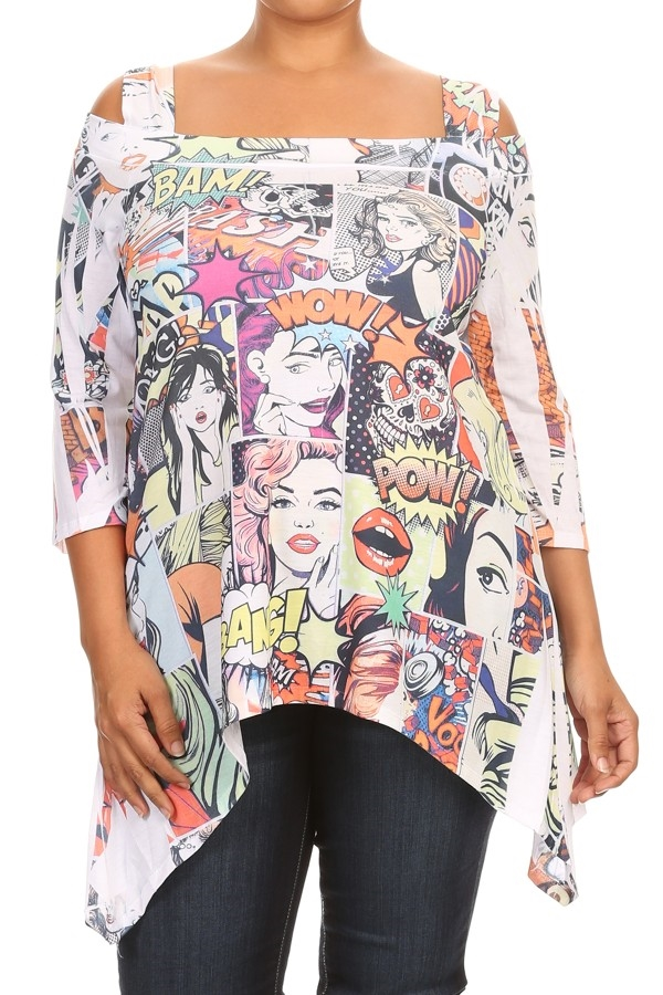 Comic Print Asymmetrical Tunic - orangeshine.com