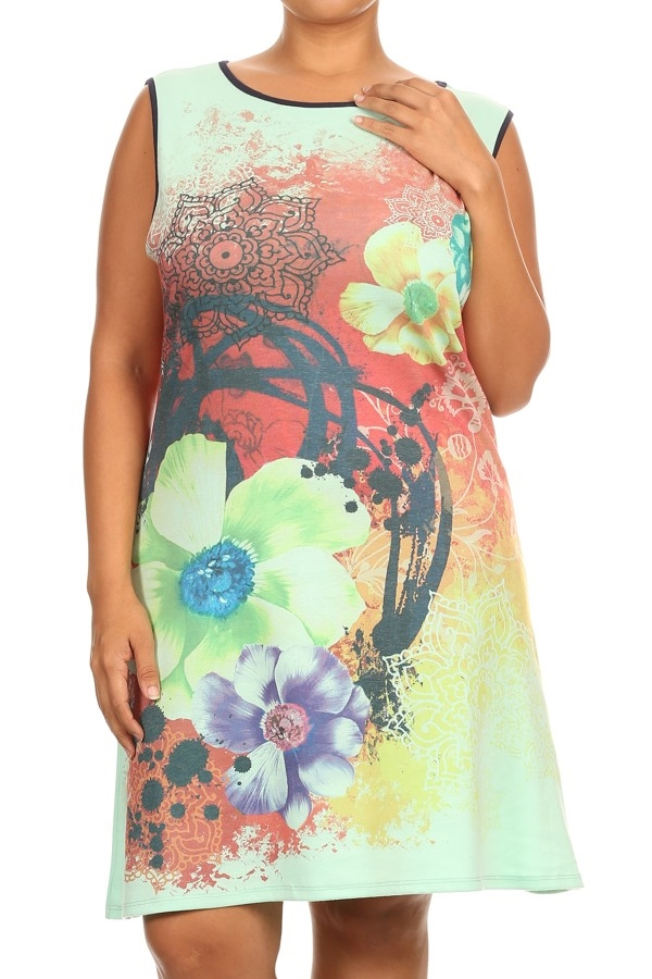 Sleeveless Printed Dress - orangeshine.com