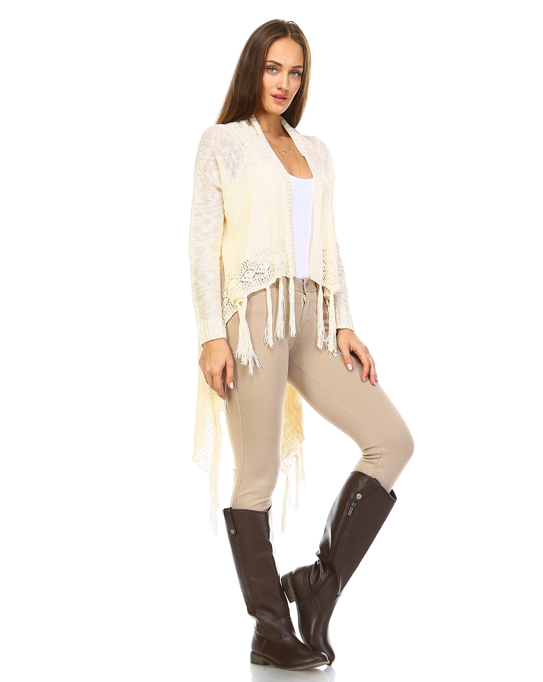 -Fringed Drape Knit Cardigan - - orangeshine.com