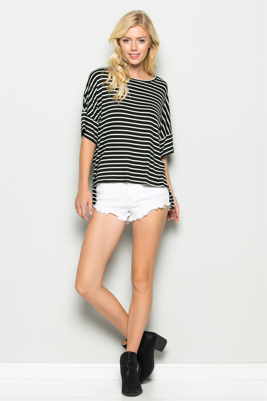 DROP SHOULDER STRIPED TOP - orangeshine.com