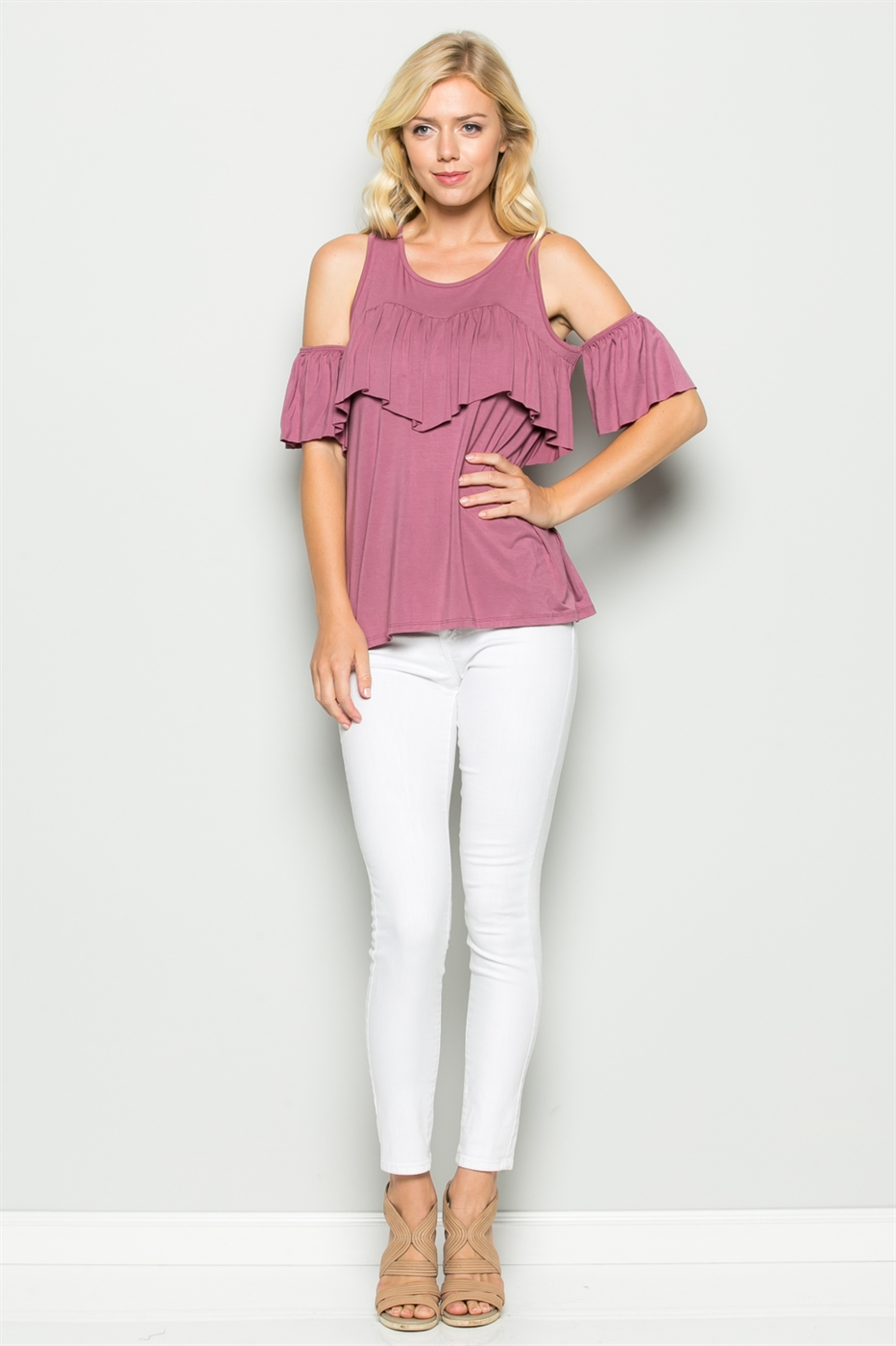 COLD SHOULDER RUFFLE TOP - orangeshine.com