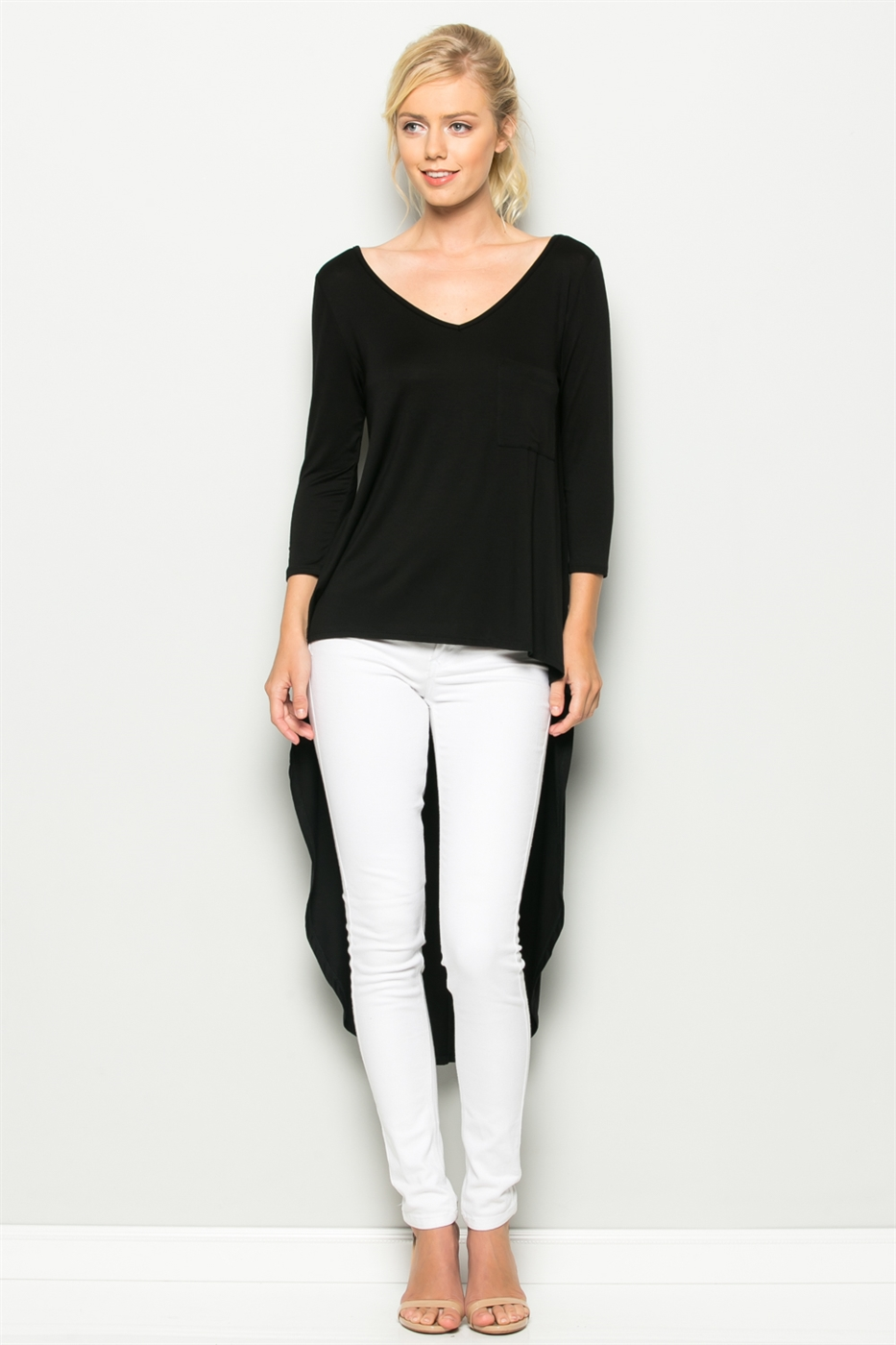 3/4 SLEEVE HI LOW V-NECK TOP - orangeshine.com