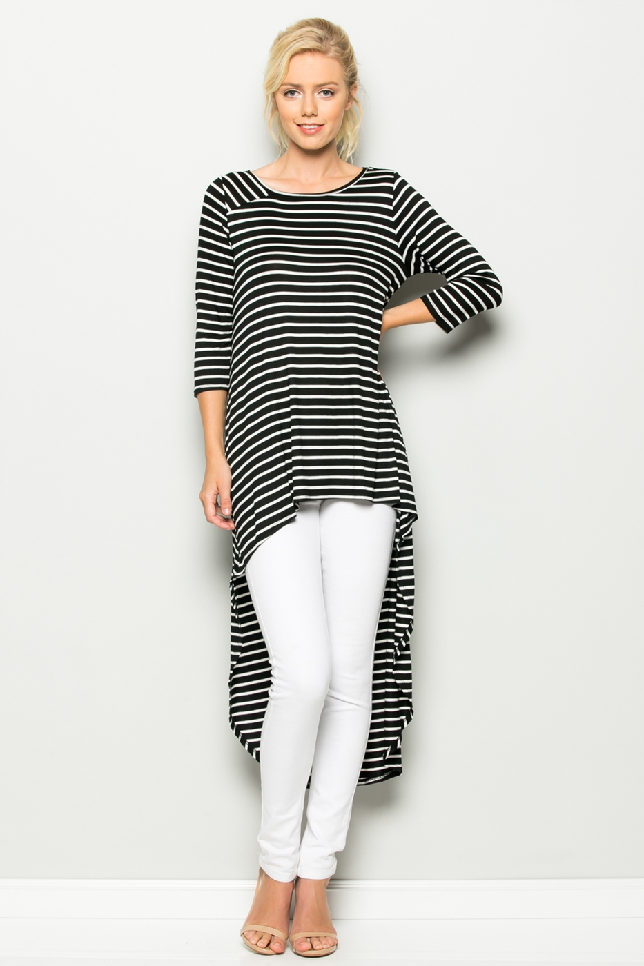 3/4 SLEEVE STRIPE HI-LOW TOP - orangeshine.com