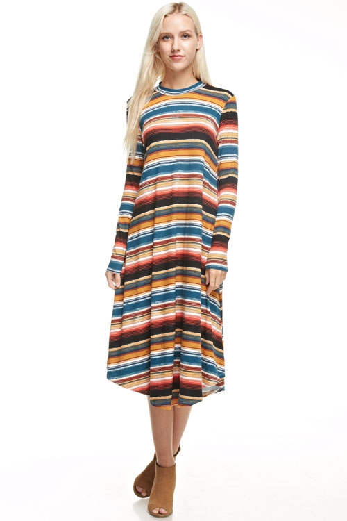 striped long flared dress - orangeshine.com
