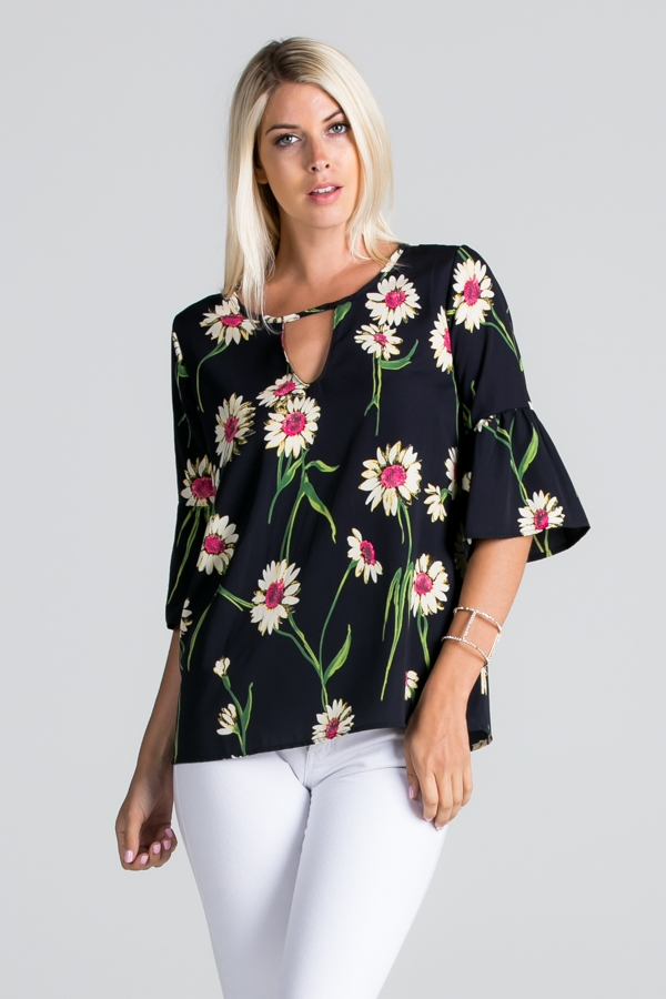 Floral Print 3/4 Sleeve Top - orangeshine.com