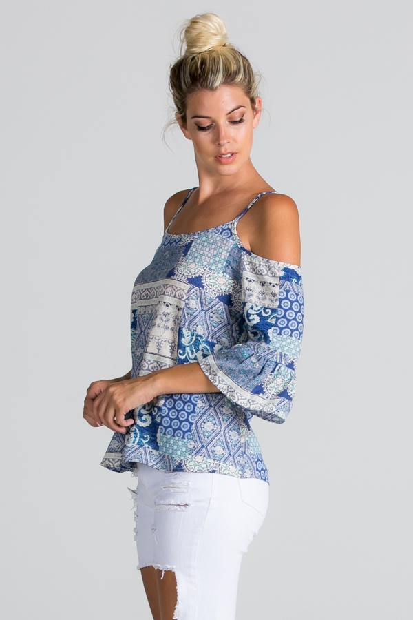 Paisley Print Cold Shoulder - orangeshine.com