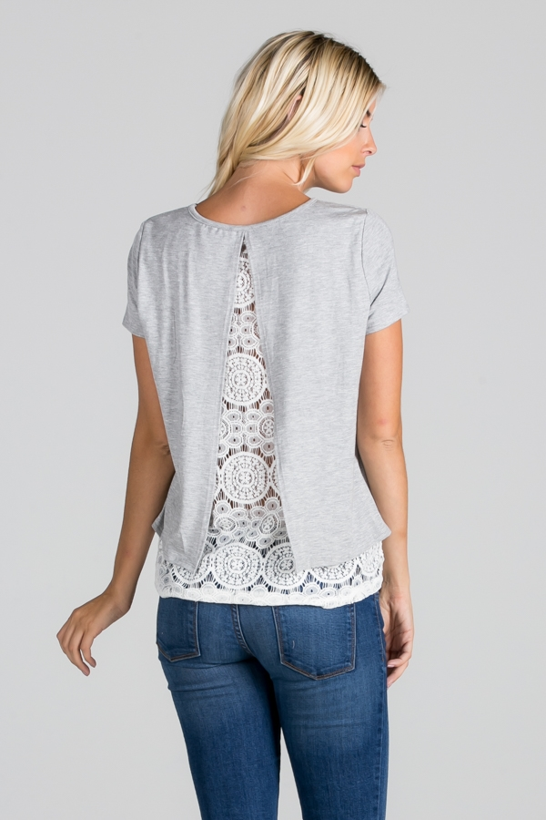 Lace Layer Contrast Detail Top - orangeshine.com