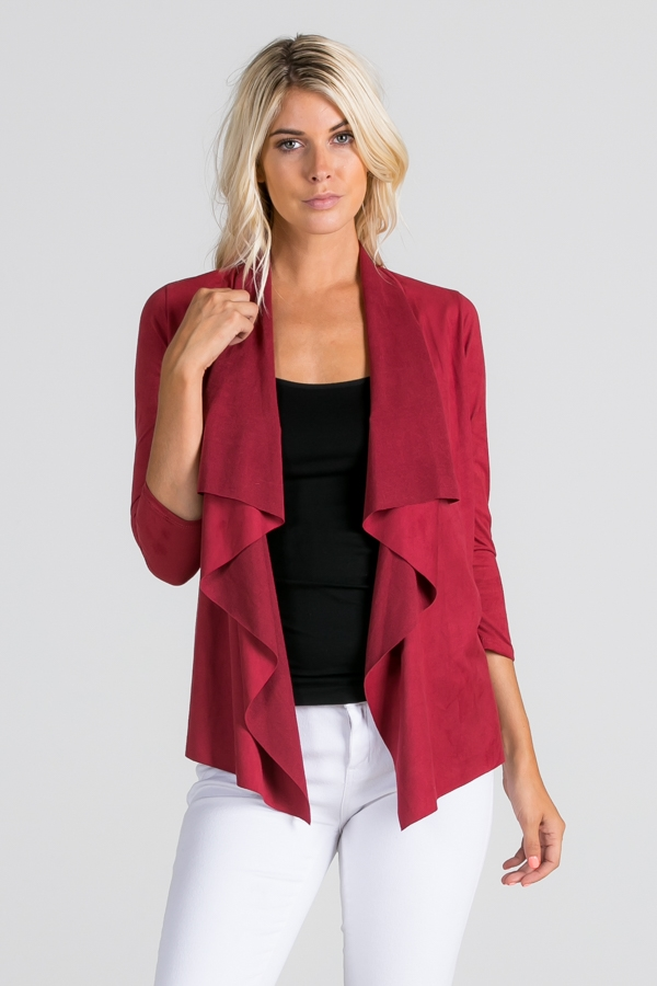 3/4 Sleeve Waterfall Cardigan - orangeshine.com