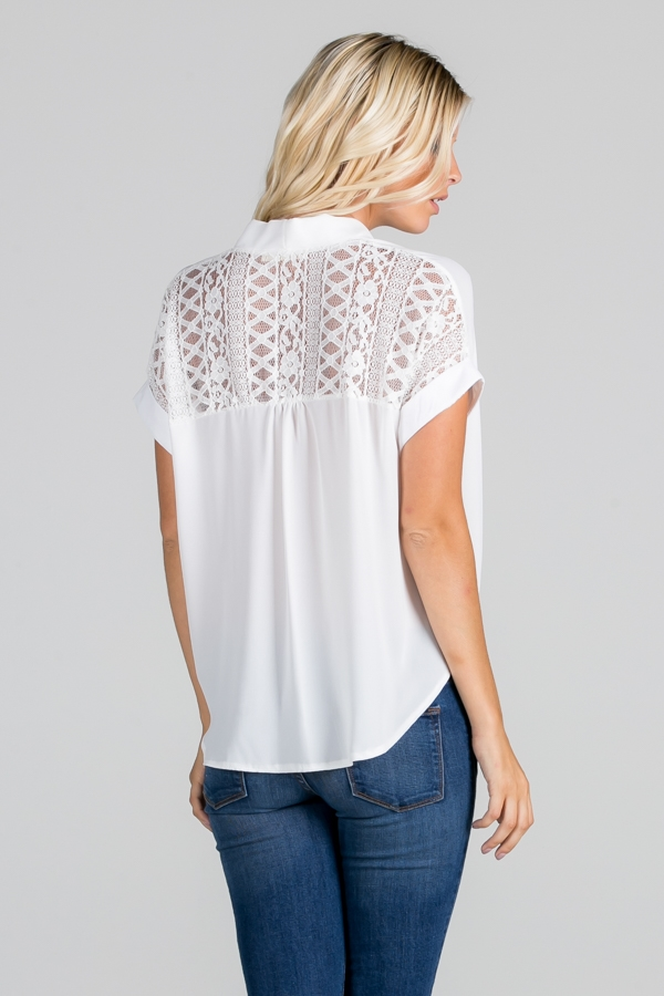 Solid Lace Back Contrast Top - orangeshine.com