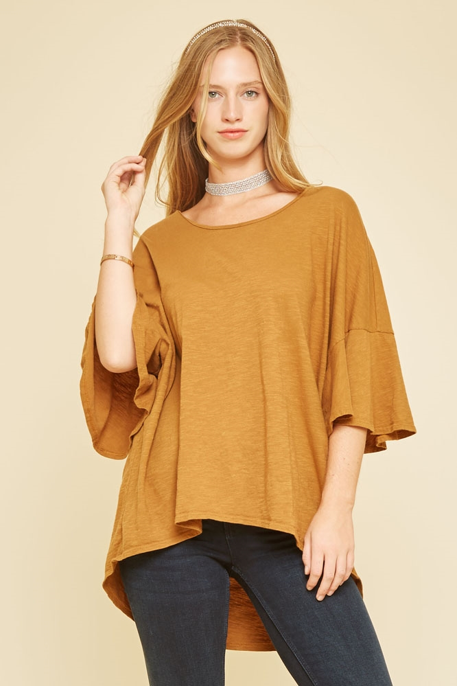 RUFFLE SLEEVE TOP - orangeshine.com