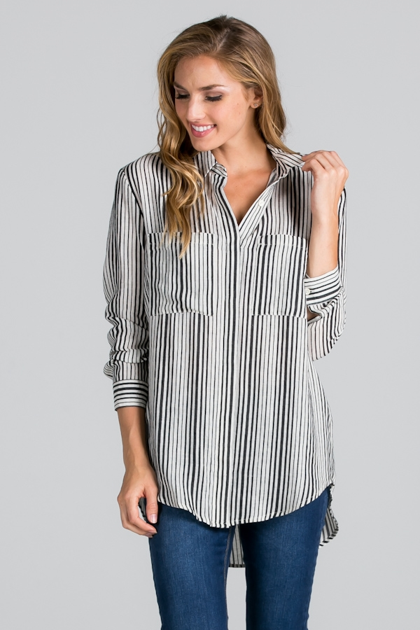 STRIPE BUTTON-DOWN SHIRT - orangeshine.com