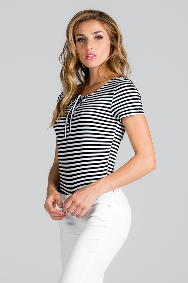 LACE-UP STRIPE BODYSUIT  - orangeshine.com