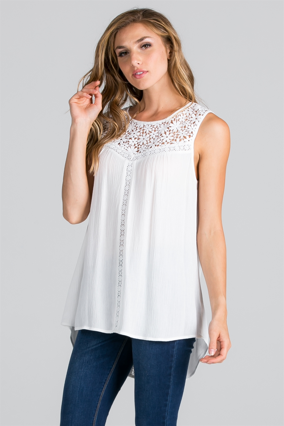 CROCHET LACE CONTRAST TOP   - orangeshine.com