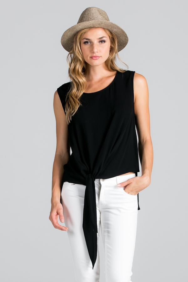 TIE-FRONT TOP WITH BACK CROCHE - orangeshine.com
