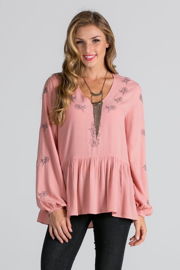 EMBROIDERED RUFFLE HEM TOP - orangeshine.com