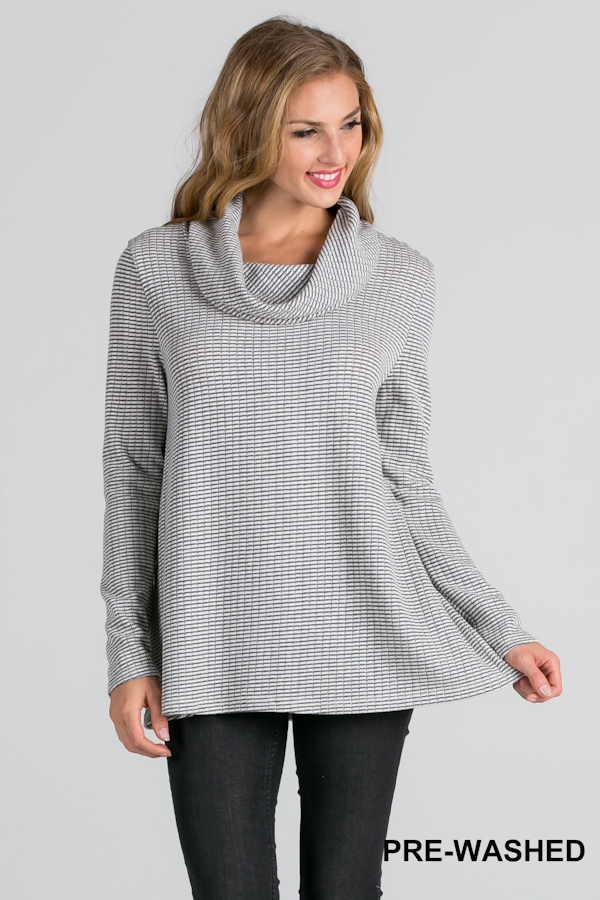 COWL NECK RIB KNIT SWEATER - orangeshine.com