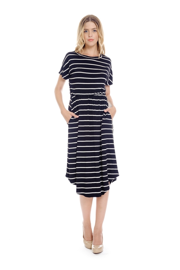 striped midi flare dress - orangeshine.com