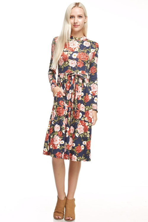 high neck floral print dress - orangeshine.com