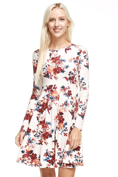 Floral fit and flared dress - orangeshine.com