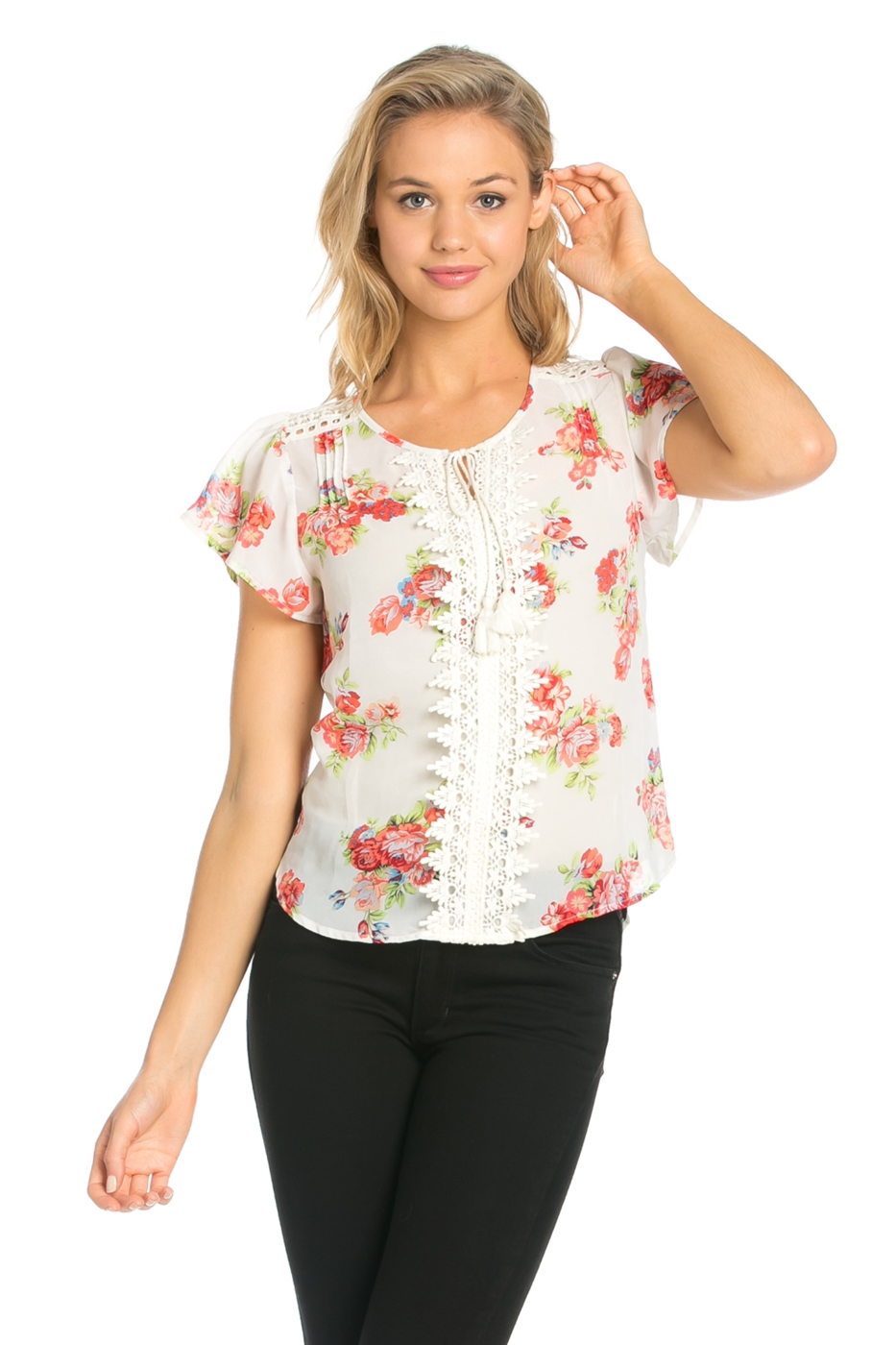 FLORAL PRINT LACE TOP - orangeshine.com
