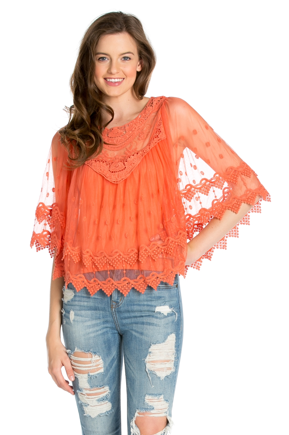LACE PONCHO TOP - orangeshine.com