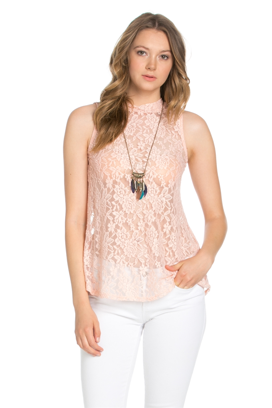 MOCK NECK LACE TOP - orangeshine.com