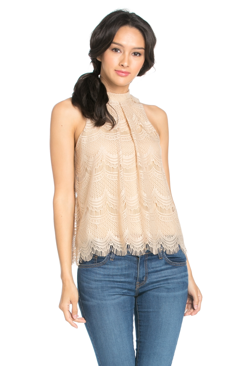 EYELASH LACE MOCK NECK TOP - orangeshine.com